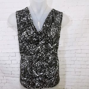 Ellen Tracy Slink Knit Draped Neck Printed Top NWT